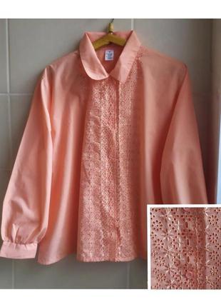 Очень красивая блуза с длинными рукавами из прошвы, большого размера / батал