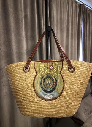 Соломенная сумка шопер gattinoni