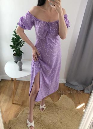 Лавандовое миди платье в горох с распоркой