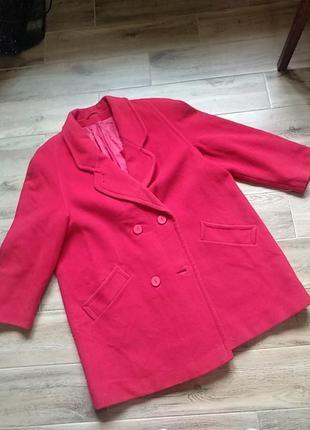 Ярко красное пальто оверзайз шерсть свободное 46 48