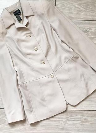 Бежевый удлинённый пиджак жакет на пуговицах 100% шерсть