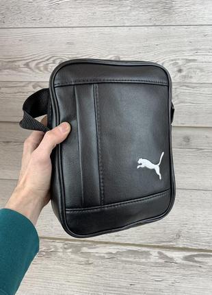 Мужская сумка через плечо puma пума кожаная барсетка мессенджер спортивная