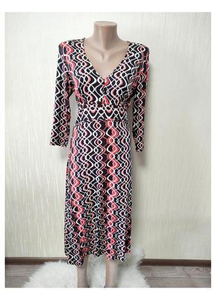 Женское стрейчевое миди платье из вискозы с длинным рукавом