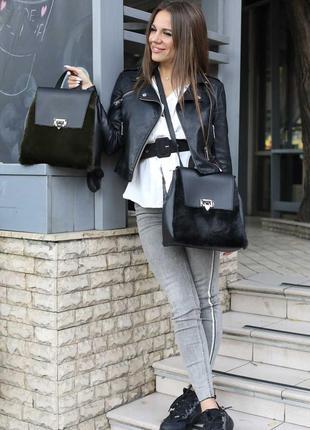 Женский рюкзак трансформер рюкзак сумка рюкзак с мехом пушистый рюкзак черный рюкзак