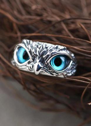 Кольцо сова совушка перстень с регулировкой размера серебро птица