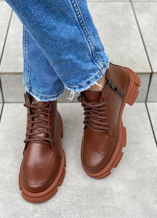 Ботинки демисезонные натуральная кожа рыжые бежевые