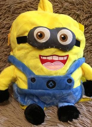Рюкзак-игрушка миньон желто-синий