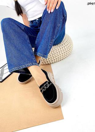 Рр 36,38,41.чëрные туфли лоферы  из натуральной замши