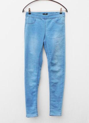 Голубые стрейчевые джинсы скинни джеггинсы в обтяжку2