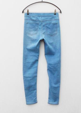 Голубые стрейчевые джинсы скинни джеггинсы в обтяжку4