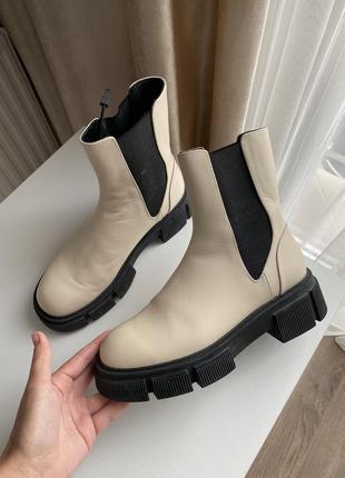 Сапоги, ботинки кожаные бежевые zara размер 37