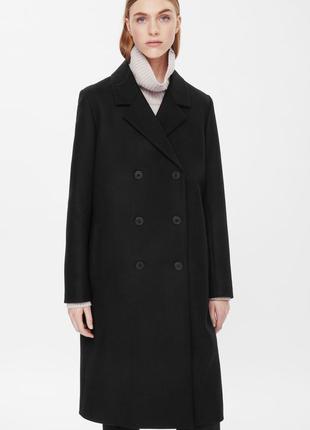 Шерстяное двубортное длинное пальто cos кашемир
