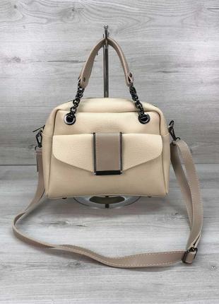 Женская сумка бежевая сумка среднего размера бежевый клатч кроссбоди через плечо