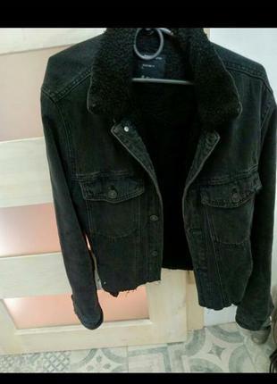 Куртка теплая деним xs осень зима