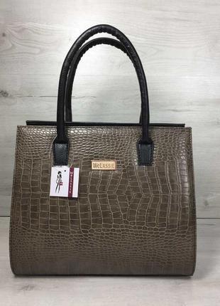 Коричневая деловая сумка саквояж с ручками классическая каркасная сумочка для документов а4