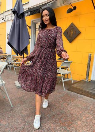 Новинка. платье шифоновое миди от 42 до 52