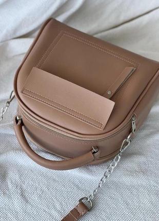 Женская сумка кожзам кросс боди пудра