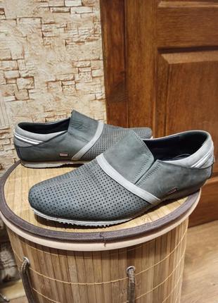 Мокасины туфли натуральная кожа (нубук) 41 размер