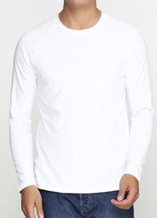 Белый базовый лонгслив реглан 100% хлопок