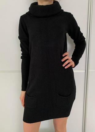 Сукня чорна, черное платье, теплое черное платье,під горло, зимнее платье toffy.