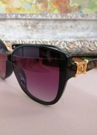 Модные чёрные брендовые солнцезащитные женские очки кошечки