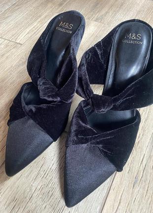 Черные мюли атласные бархатные туфли шлёпанцы с открытой пяткой