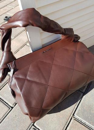 Новинка женская коричневая сумка через плечо кроссбоди david jones original 6661-2