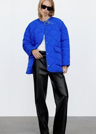 Новая синяя стеганая курточка zara куртка рубашка  зара  электрик голубая
