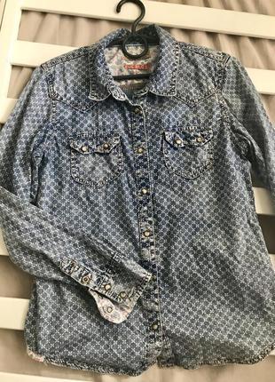 Рубашка джинсовая с принтом подростковая для девочки