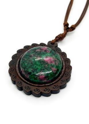 🌞✨ кулон в эко славянском стиле натуральное дерево и камень цоизит
