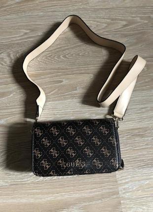 Guess оригинальная сумка через плечо мультилого кросс боди на длинном ремешке через плечо гесс гэс
