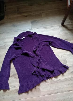 Фиолетовая кофта кардиган без пуговиц накидка большой размер 52