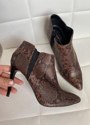 Ботильоны ботинки на шпильке змеиный принт
