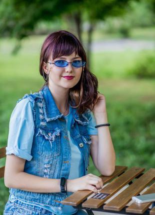 Солнцезащитные очки узкие овалы синие линзы