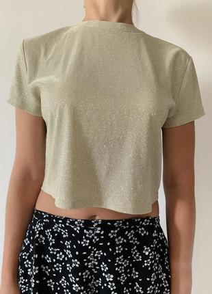 Футболка, блестящая футболка, блискуча футболка, укороченная футболка, праздничная футболка.