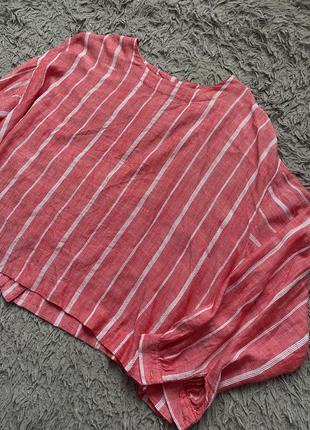 Рубашка блуза сорочка в полоску полосатая на пуговицах широкая воздушная