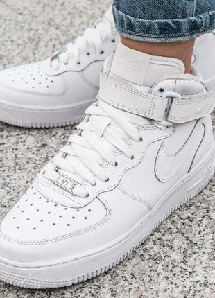 Кроссовки женские кожаные высокие найк кросівки жіночі nike air force 1 mid gs white р.40🇻🇳