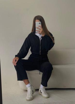 Комплект: кофта и штаны 💔 • материал: трикотаж рубчик  • размер единый 42/44 чёрный, голубой, розовый  • длина: кофта 42 см, штаны 95 см   костюм