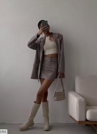 Костюм юбка и удлиненный пиджак кашемир шерсть