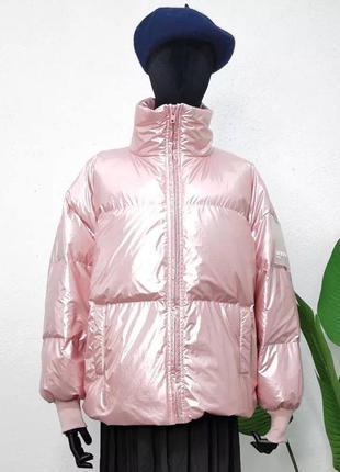 Трендовый демисезонный пуховик розового пудра   цвета водоотталкивающая плащевка lucky five