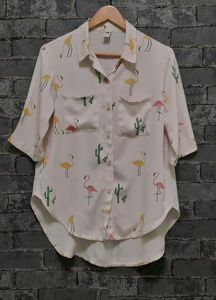 Красивая нежно-розовая рубашка сорочка блуза свободного кроя с фламинго и кактусами