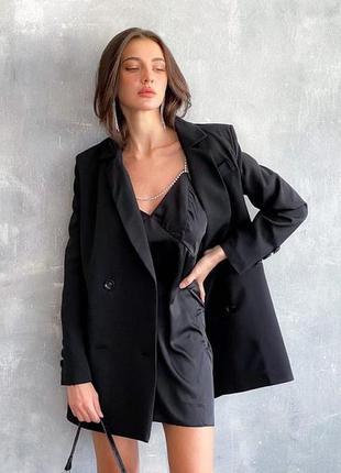 Шерстяной двубортный пиджак свободного кроя оверсайз