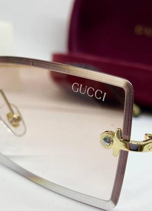 Солнцезащитные очки линзы персикового цвета с градиентом прямоугольные линзы безободковые