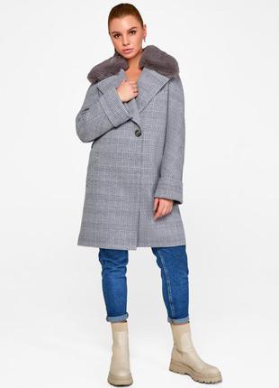 Стильное зимнее пальто «мили» серое
