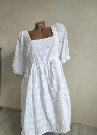Красивое хлопковое платье от asos с объемными рукавами и квадратным вырезом