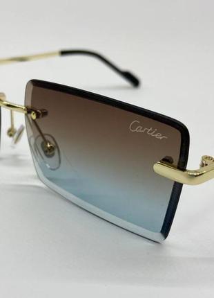 Солнцезащитные очки прямоугольные линзы без оправы с тонкими дужками металл
