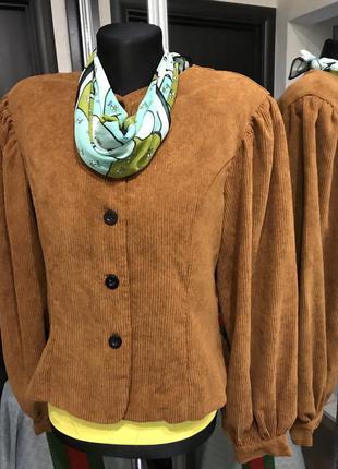 Жакет блуза мягкой формы типа вельвет пышный рукав плечи