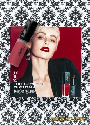 Жидкая матовая помада для губ yves saint laurent tatouage couture velvet cream 216 nude emblem ysl