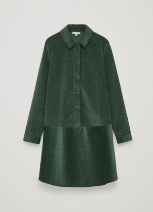 Темно-зеленое вельветовое платье-рубашка прямого кроя оверсайз  cos