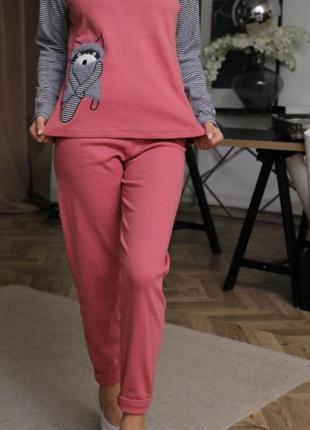 Домашняя пижама хлопок хлопковая пижамка турция кофта штаны домашние пижама енот